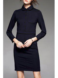Collier Plat à Manches Longues Robe Fourreau - Bleu Violet S
