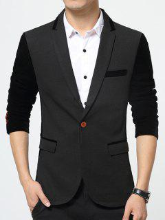 Color Splicing Flap Pockets Lapel Long Sleeve Blazer - Black 5xl