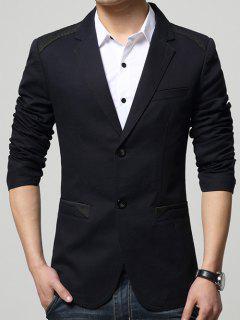 Spliced Single Breasted Sleeve Button Design Blazer - Black M