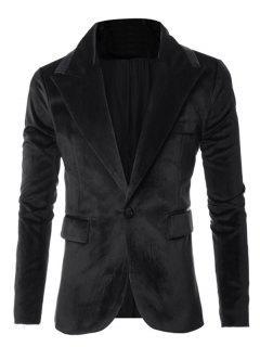 Leather Piping Design One-Button Long Sleeve Velvet Blazer - Black M