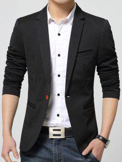 Breast Pocket One Button Men Blazer - Black M