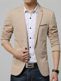 Breast Pocket Lapel Long Sleeves One-Button Blazer - Khaki 4xl