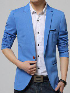 Breast Pocket Lapel Long Sleeves One-Button Blazer - Azure 3xl