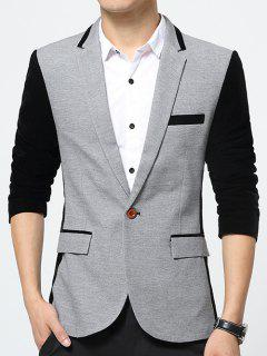 Color Splicing Flap Pockets Lapel Long Sleeve Blazer - Gray M