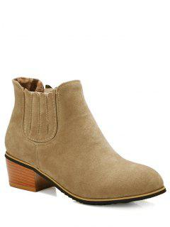 Chunky Heel Elastic Band Ankle Boots - Camel 38