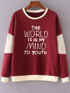 Letter Print Round Neck Long Sleeve Sweatshirt - Red L