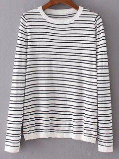 Striped Patched Round Neck Long Sleeve Knitwear - White L