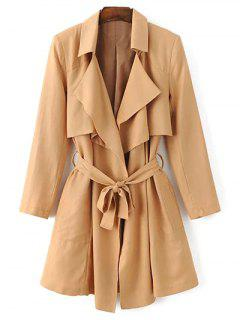 Belted Cape Lapel Neck Long Sleeve Trench Coat - Khaki S