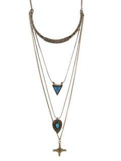 Faux Turquoise Cross Triangle Sweater Chain - Golden