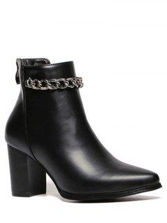 Pointed Toe Chains Chunky Heel Ankle Boots - Black 37