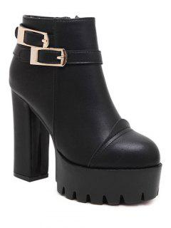 Chunky Heel Platform Double Buckles Ankle Boots - Black 38