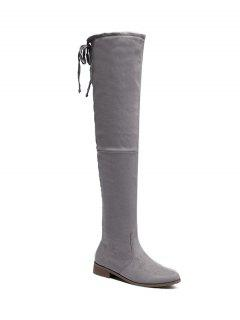 Flat Heel Flock Zipper Thing High Boots - Gray 40