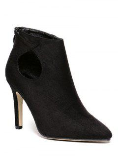 Cut Out Stiletto Heel Ankle Boots - Black 38