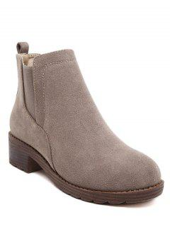 Flock Round Toe Elastic Band Ankle Boots - Camel 38