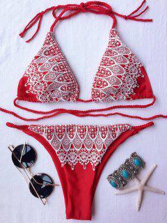 Halter Lace Spliced Bikini Set - Red S
