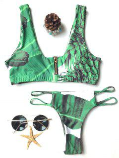 T Cuello De Palm Ajuste Impresión Del Bikini - Verde S