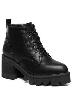 Stitching Platform Tie Up Ankle Boots - Black 37