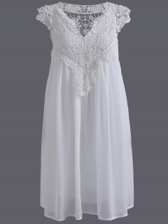 Plus Size Lace Chiffon Dress - White 5xl