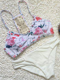 Crochet Back Floral Bikini Set - White L