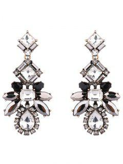 Artificial Crystal Water Drop Geometric Earrings - Black