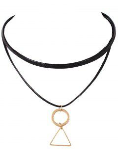 Geometric Faux Leather Choker - Black