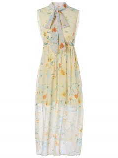Bow-Tie Printed Maxi Dress - Yellow S