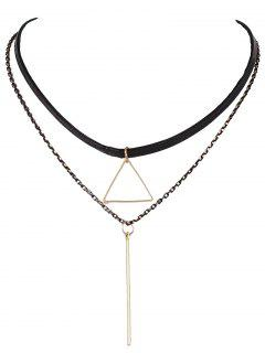 Triangle Bar Layered Choker - Black