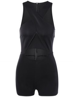 Cut Out Cross Front Playsuit - Black S