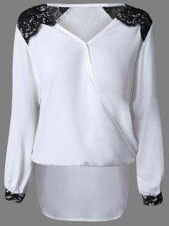 Lace Trim Drapé Top - Blanc S