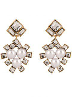 Faux Pearl Square Wedding Earrings Jewelry - Yellow