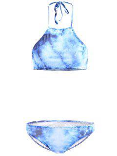 High-Neck Tie Dyed Bikini Set - Blue L