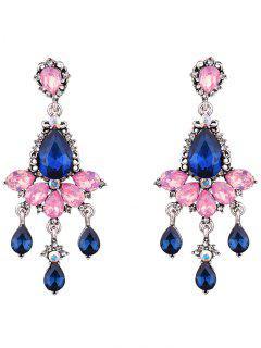 Rhinestone Water Drop Earrings Party Jewelry - Pink