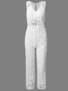 Solide Couleur Plongeant Cou Sans Manches En Dentelle Jumpsuit - Blanc S