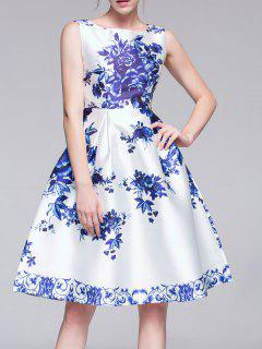 Flared Porcelain Dress - Blue And White S