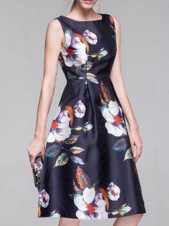Flared Vintage Dress - Purplish Blue S