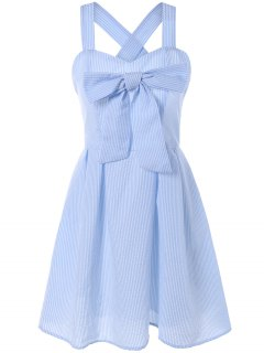 Striped Bowknot Straps Dress - Light Blue 2xl