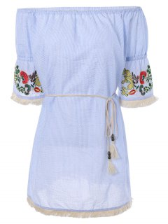 Off The Shoulder Striped Embroidered Mini Dress - Light Blue L