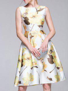 Sleeveless Flared Floral Dress - White S