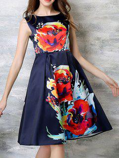 Sleeveless Flared Midi Dress - Purplish Blue S
