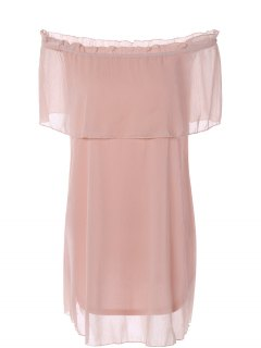 Ruffles Off The Shoulder Chiffon Dress - Pink Xl