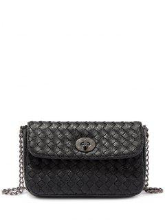 PU Leather Chains Woven Crossbody Bag - Black
