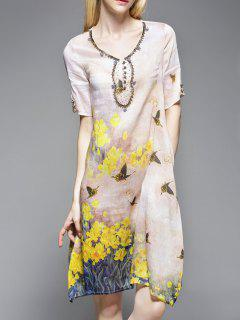Floral Butterfly Silk Dress - Apricot M