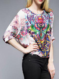 Printed Batwing Silk Top - M