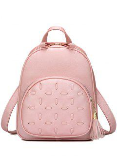 Tassels PU Leather Zip Backpack - Light Pink