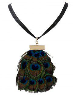 Faux Peacock Feather Necklace