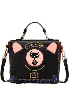 Cat Pattern Embroidery PU Leather Shoulder Bag - Black