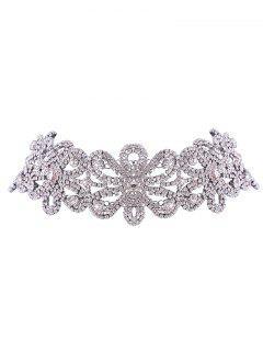 Collar De La Flor Del Rhinestone Brillante - Plata