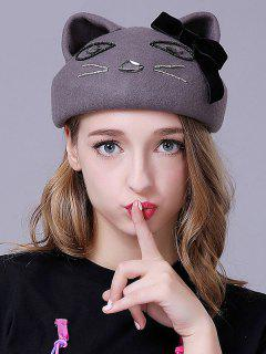 Velvet Bow Cat Ear Beret - Gray