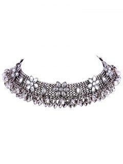 Flower Bell Fringe Alloy Choker - Silver