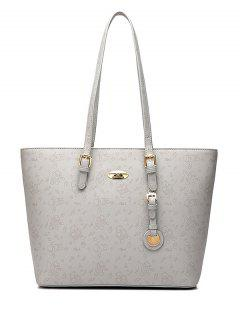 Print Buckles Metal Shoulder Bag - Light Gray